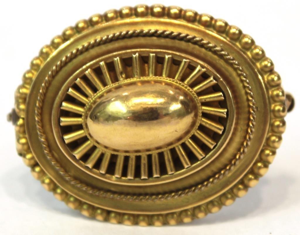 Victorian English 14K Gold & Hair Memorial Brooch