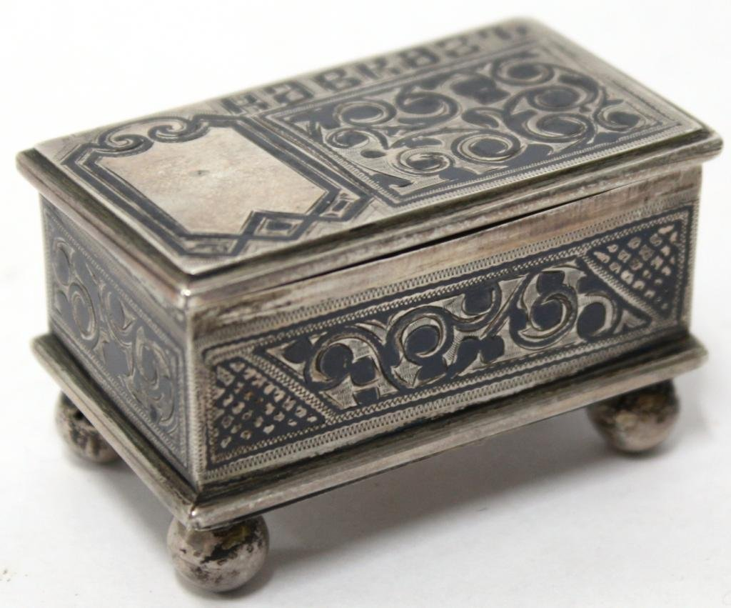 Tiny Georgian Russian Niello Silver Box