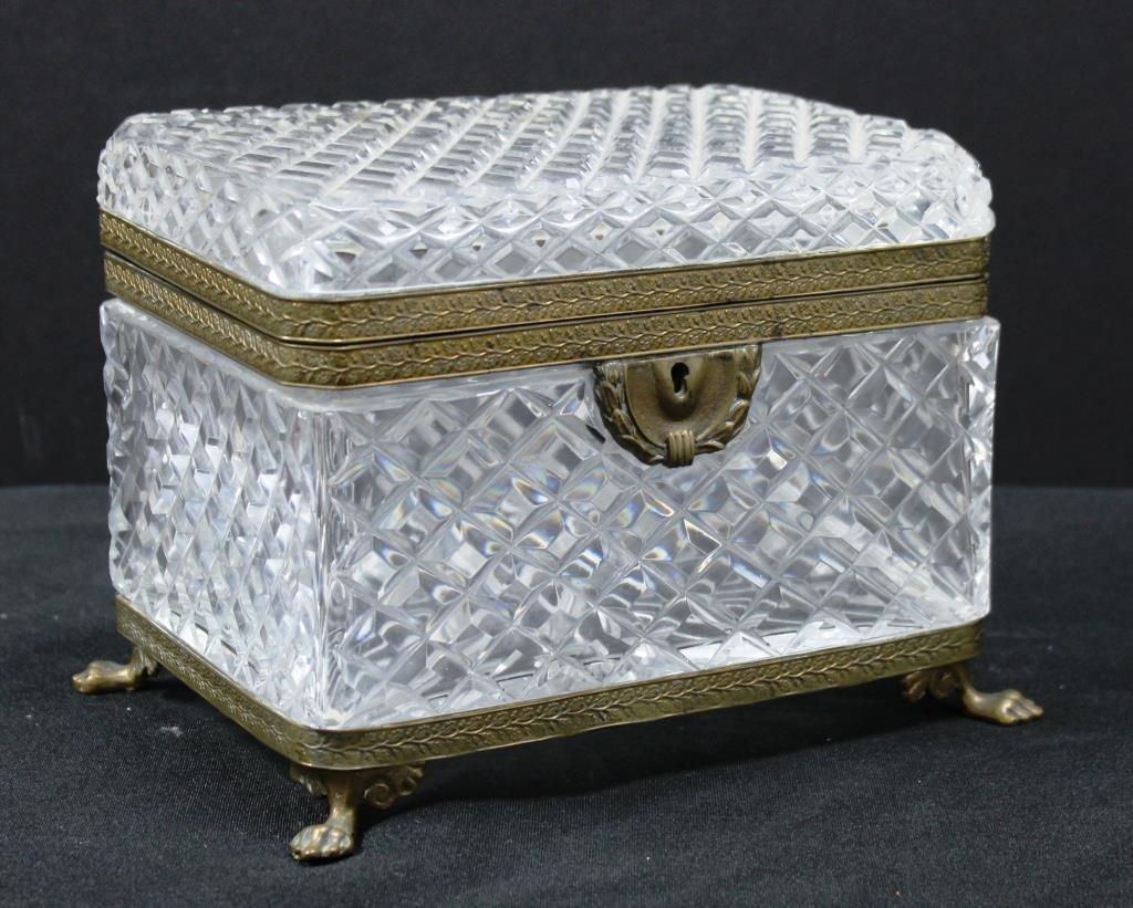 Large Bohemian Lead Cut Crystal Ormolu-Mounted Box