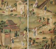 2 Panels of Framed Chinese Hand-Painted Wallpaper