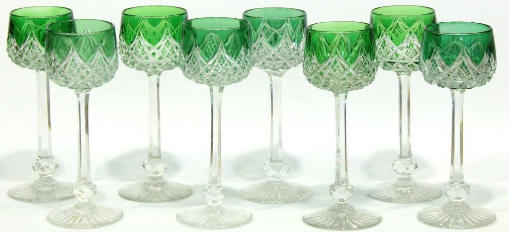 8 Baccarat Green Cut to Clear Wine Hocks