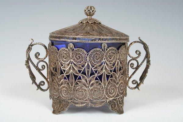 28: Filigree Ethrog Box with Glass Insert. Bezalel c.19