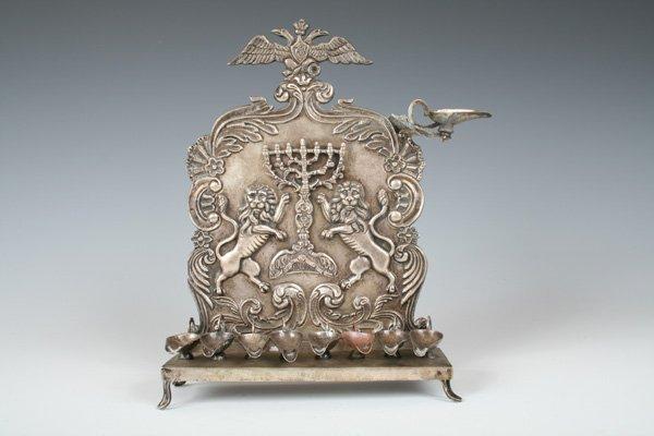 32: Russian Silver Romanoff Crest Hanukah Lamp Judaica