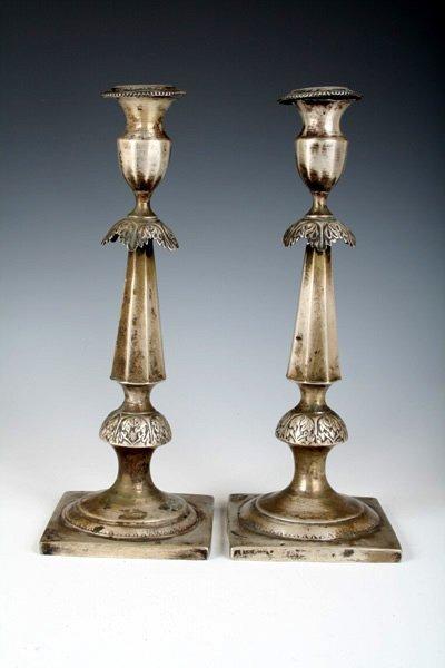 33: Early 19th C Polish Silver Candlesticks