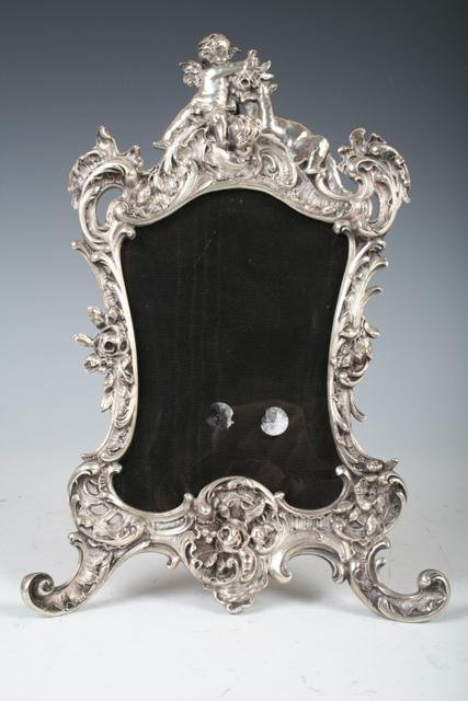 228: Ornate Sterling Picture Frame with Beveled Glass
