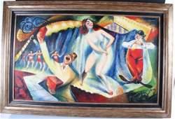 Oil on Canvas Circus Scene Russian American Koslov
