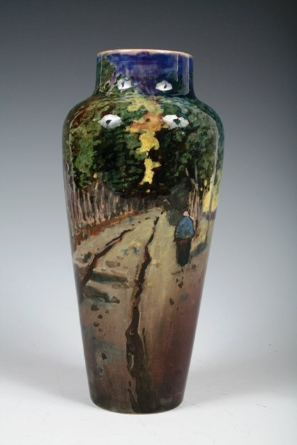 259: Early 20th c Handpainted Dutch Pottery Vase Marked