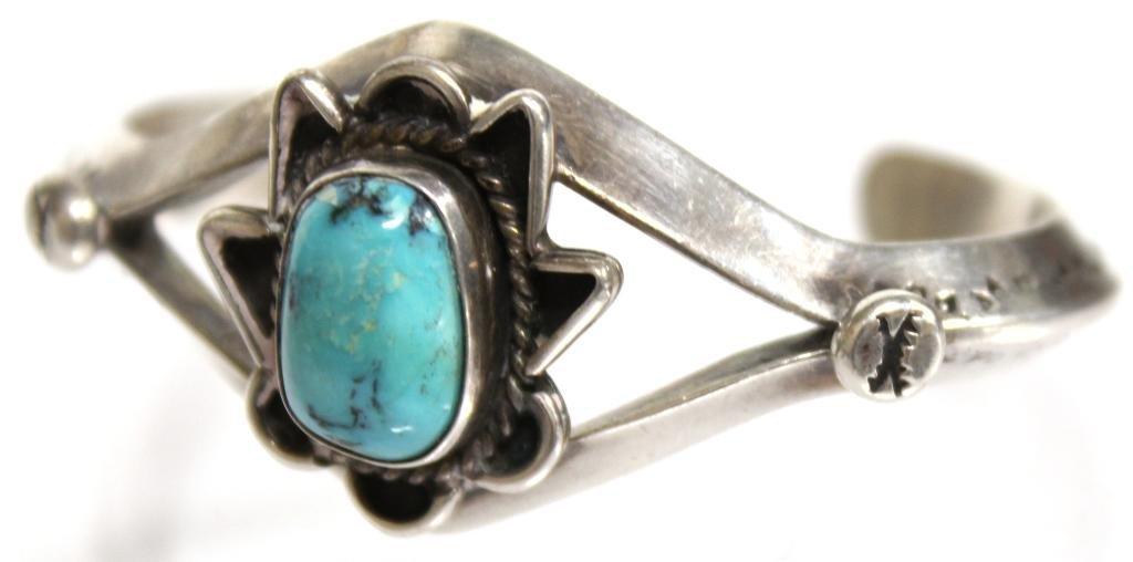 Navajo Silver & Turquoise Cuff Bracelet