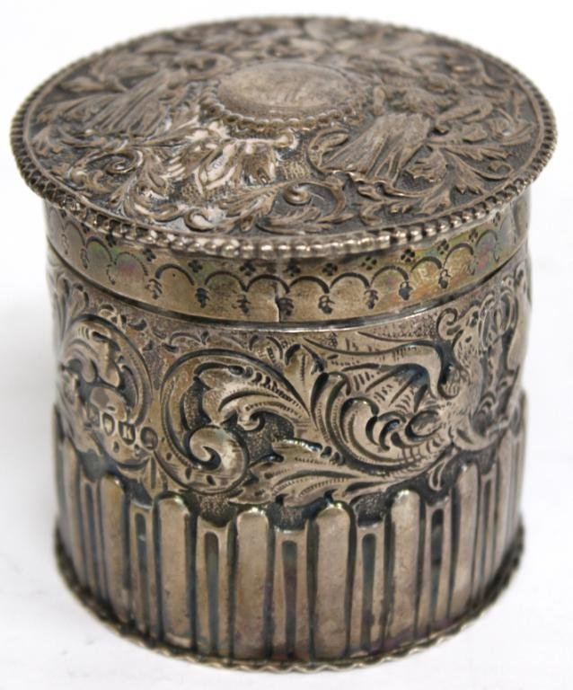 English Sterling Repoussé Container, 1885