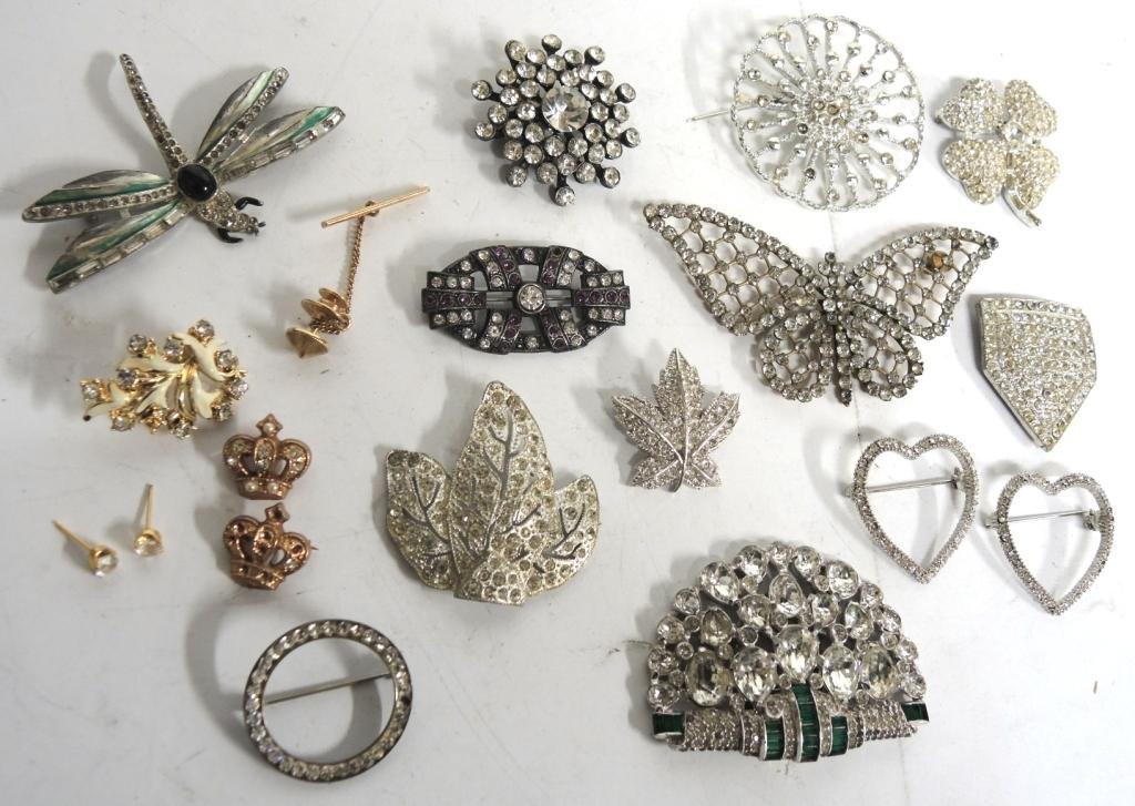 16 Vintage Rhinestone Costume Jewelry Articles