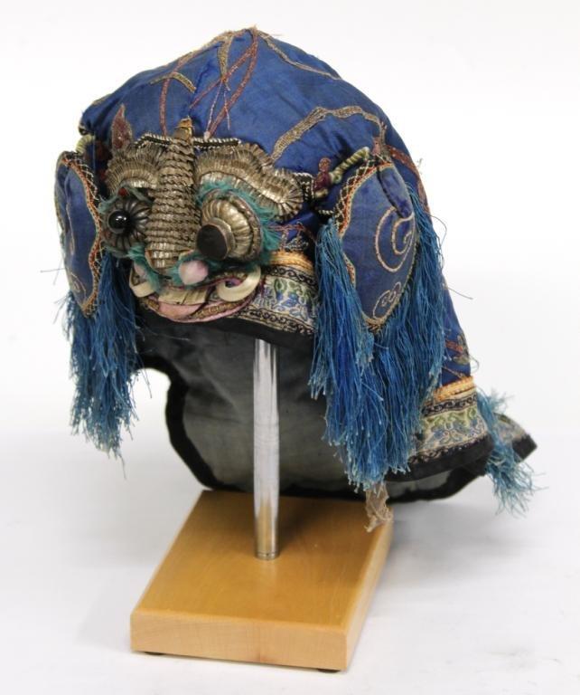 Chinese Silk Embroidered Boy's Headdress / Hat