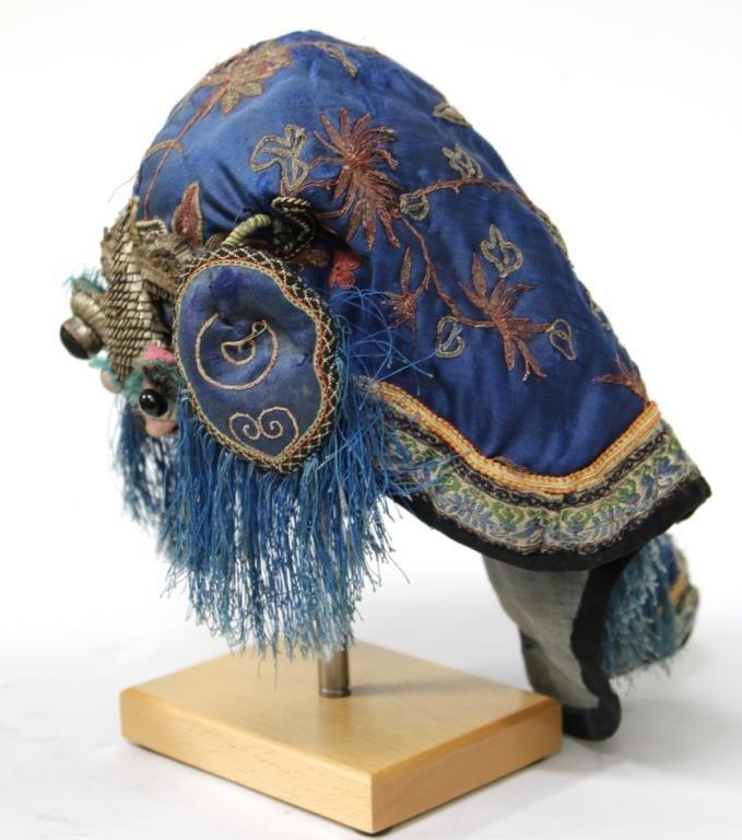 Chinese Silk Embroidered Boy's Headdress / Hat - 3