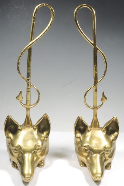 Pair of Gilt Brass Fox Head Door Stops