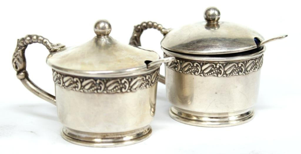 Pair of Webster Sterling & Glass Condiment Pots