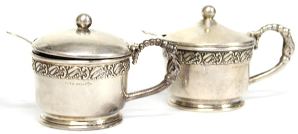 Pair of Webster Sterling & Glass Condiment Pots - 2