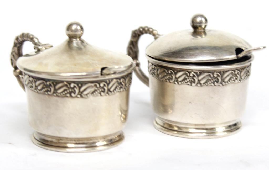 Pair of Webster Sterling & Glass Condiment Pots - 4