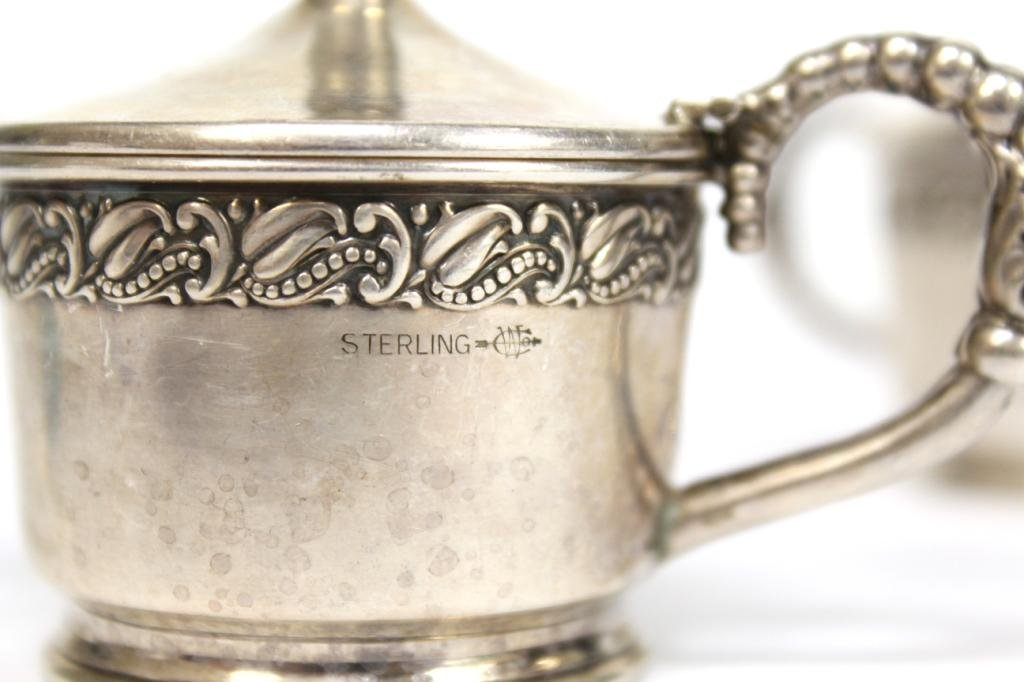 Pair of Webster Sterling & Glass Condiment Pots - 5