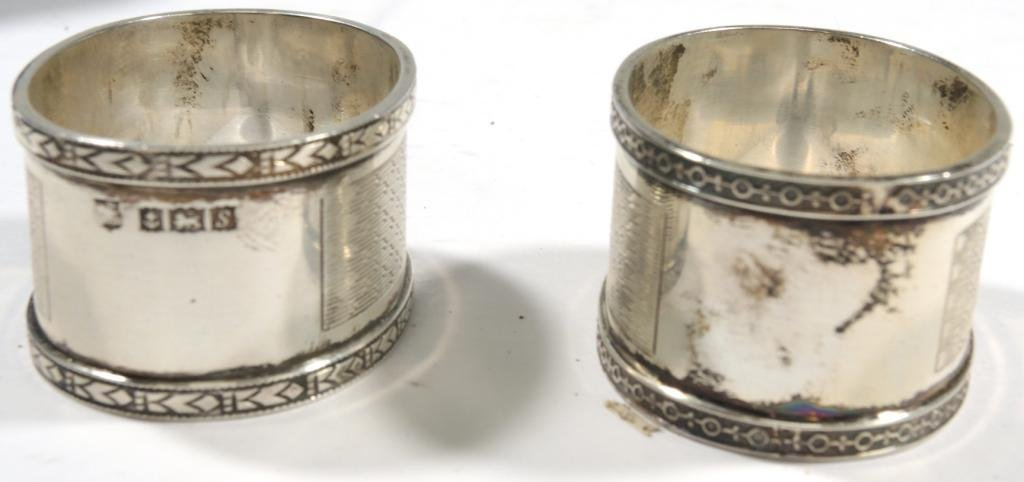 Pair Cased Vintage English Sterling Napkin Rings - 4