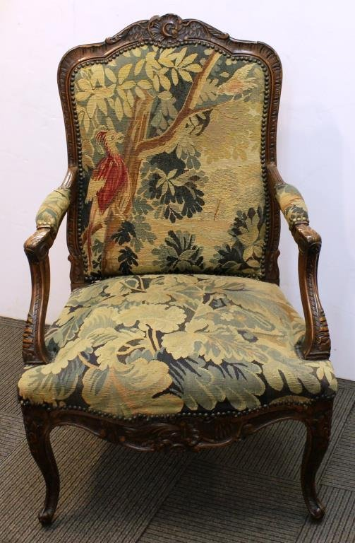 Antique Continental Upholstered Arm Chair