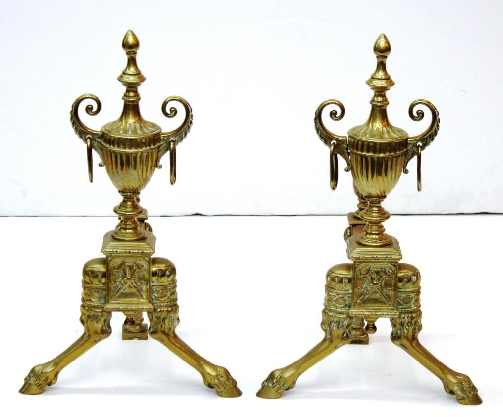 Pair Small Neoclassical-Style Gilt Brass Andirons