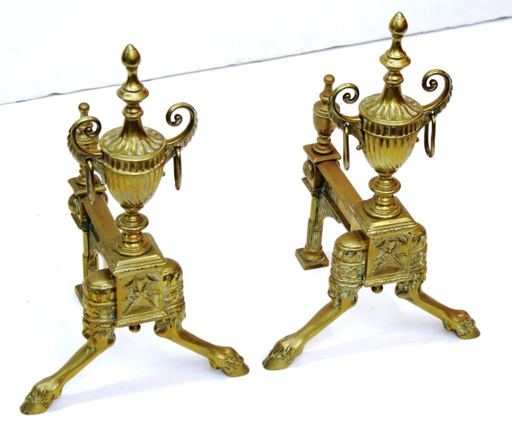 Pair Small Neoclassical-Style Gilt Brass Andirons - 2