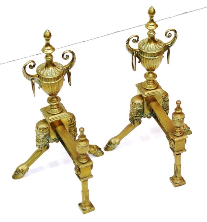 Pair Small Neoclassical-Style Gilt Brass Andirons - 4