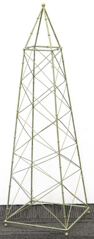 Green-Painted Rectangular Metal Plant Trellis