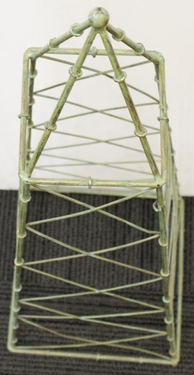 Green-Painted Rectangular Metal Plant Trellis - 2