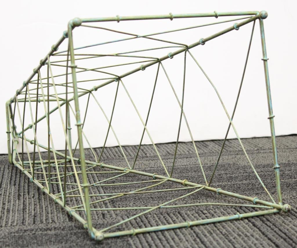 Green-Painted Rectangular Metal Plant Trellis - 3