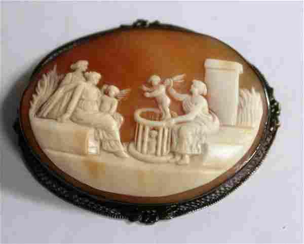 Victorian Pompeii-Themed Shell & 14K Cameo