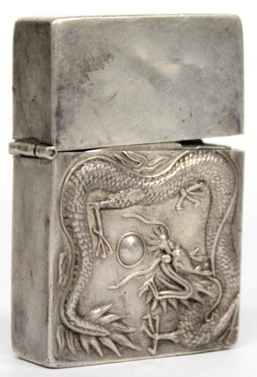 Chinese Silver Dragon-Embossed Cigarette Lighter
