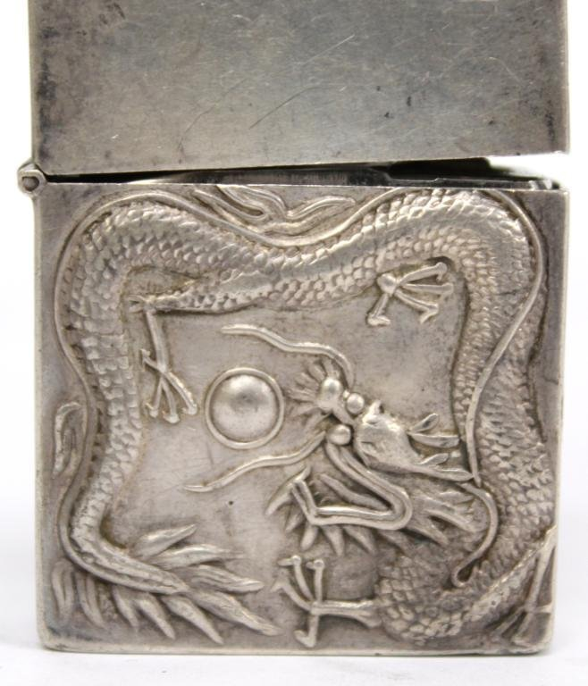 Chinese Silver Dragon-Embossed Cigarette Lighter - 2