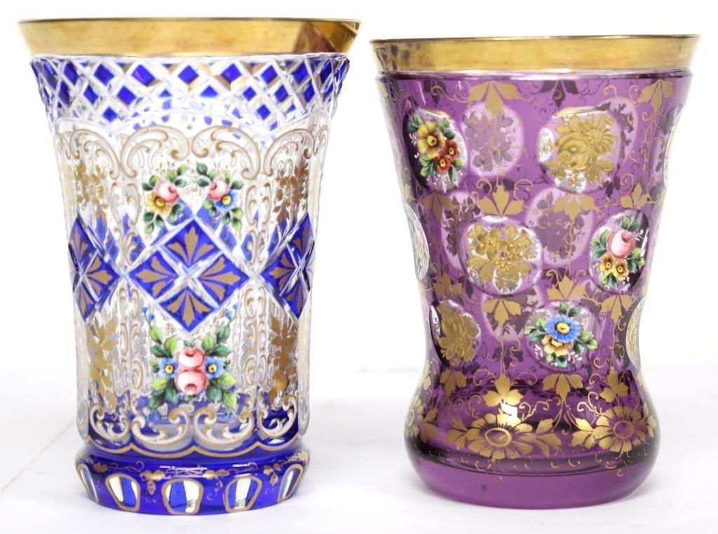2 Bohemian Gilded Crystal Beakers