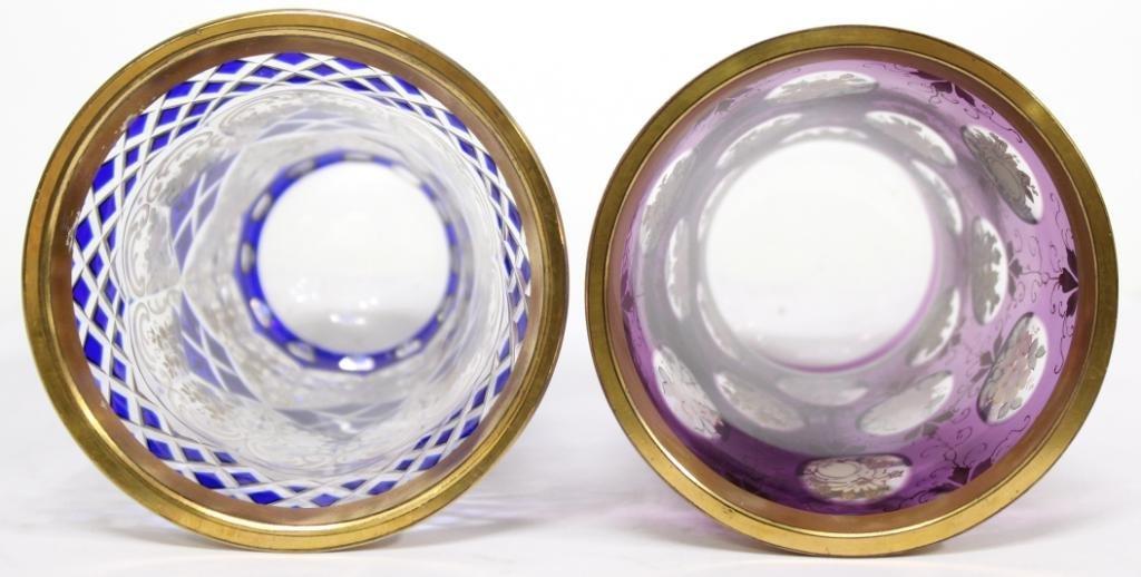 2 Bohemian Gilded Crystal Beakers - 2