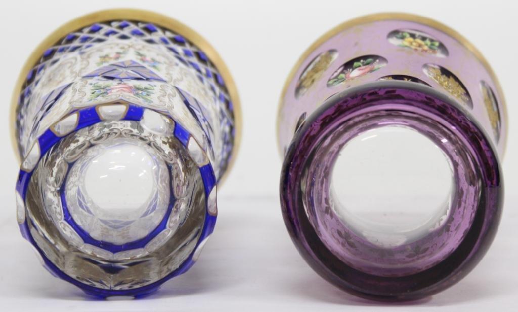 2 Bohemian Gilded Crystal Beakers - 3