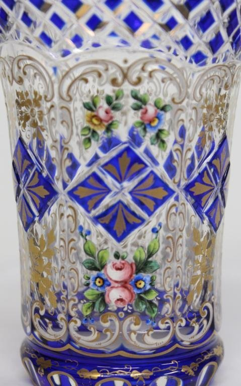 2 Bohemian Gilded Crystal Beakers - 4