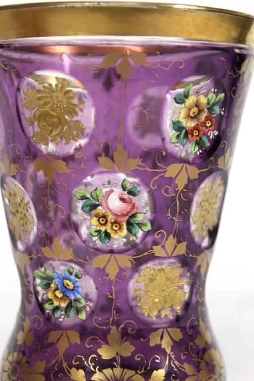 2 Bohemian Gilded Crystal Beakers - 5