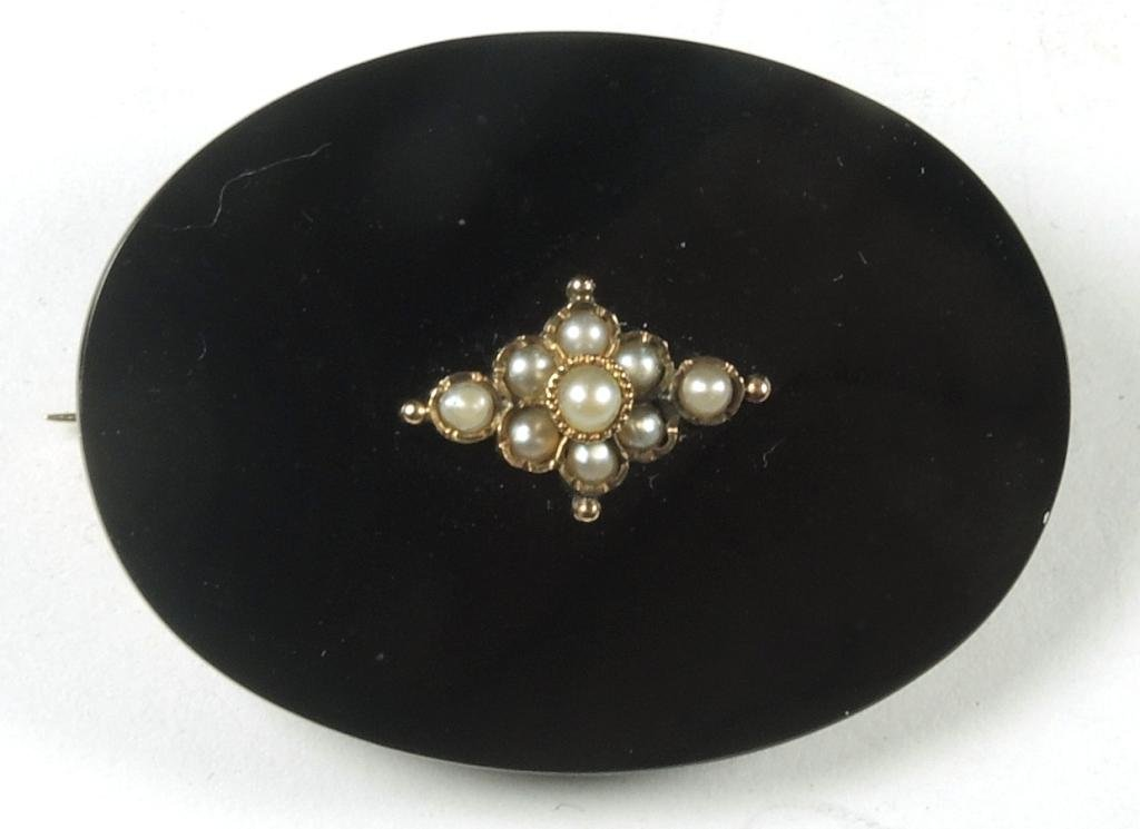 Victorian 14K Gold, Onyx & Pearl Mourning Brooch