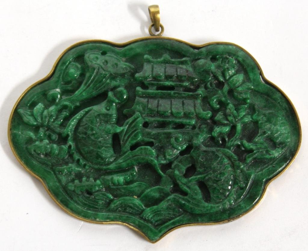 Large Chinese Cast Green Stone Pendant