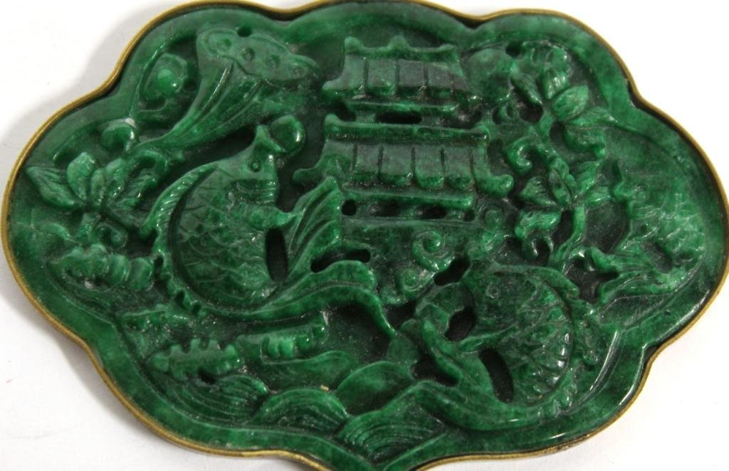 Large Chinese Cast Green Stone Pendant - 2