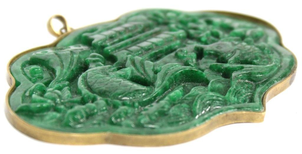 Large Chinese Cast Green Stone Pendant - 3