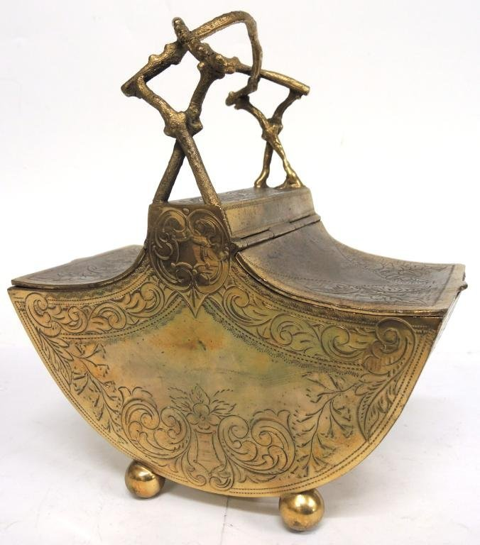 Aesthetic Period Brass Chinoiserie Basket