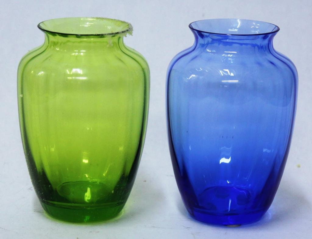 2 Baccarat Colored Ribbed Crystal Vases