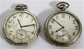 2 Elgin Antique White GoldFilled Pocket Watches