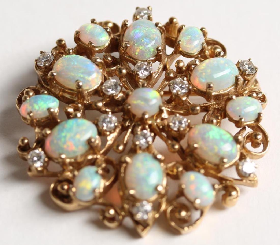 14K Opal & Diamond Pendant Brooch - 2