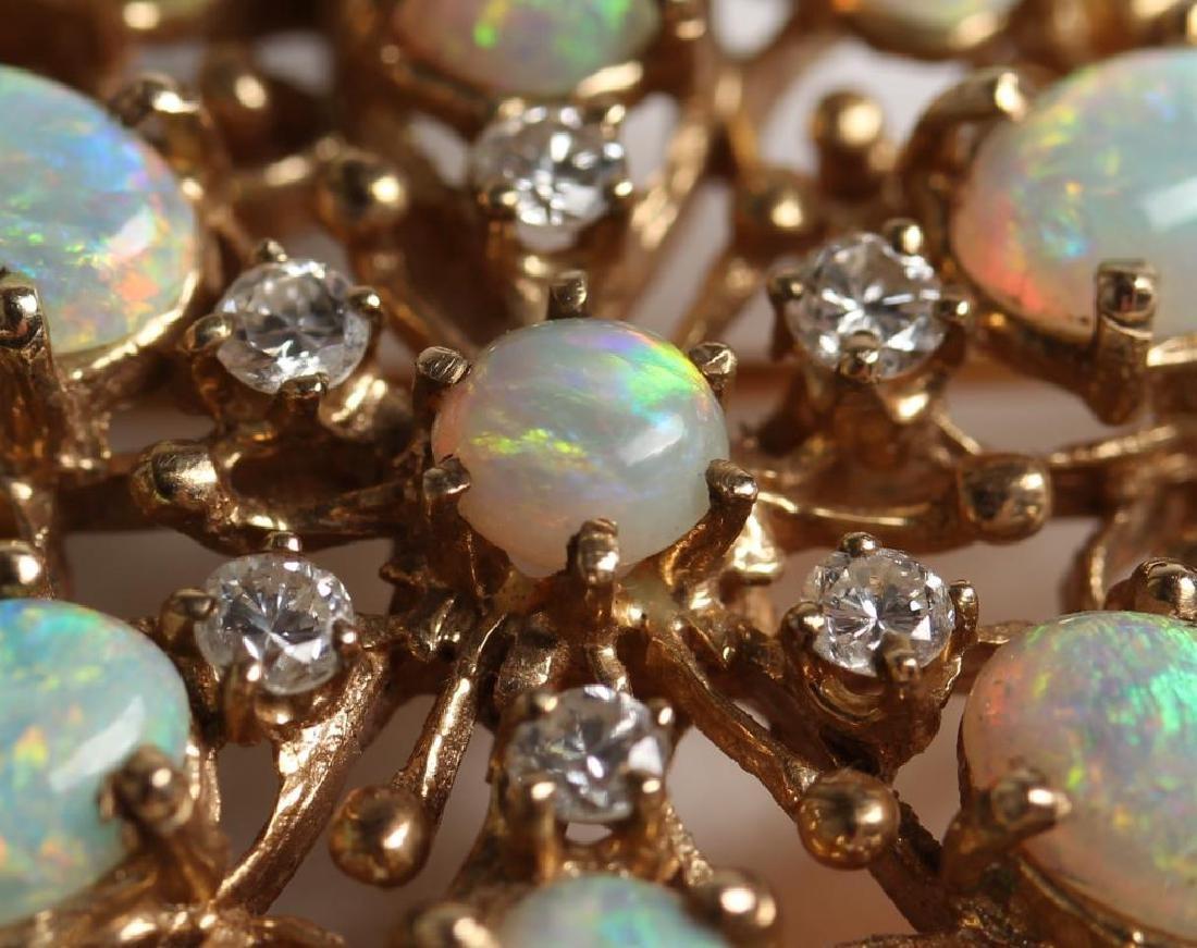 14K Opal & Diamond Pendant Brooch - 3