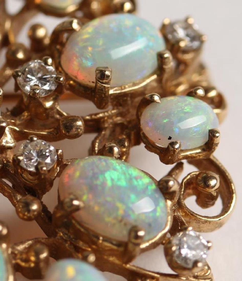 14K Opal & Diamond Pendant Brooch - 4