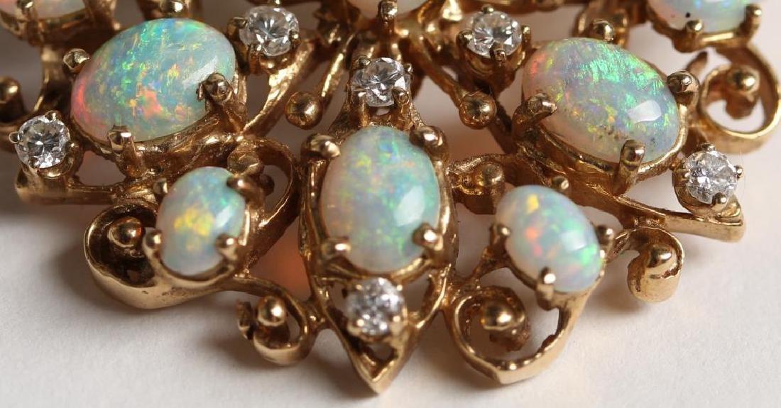 14K Opal & Diamond Pendant Brooch - 5
