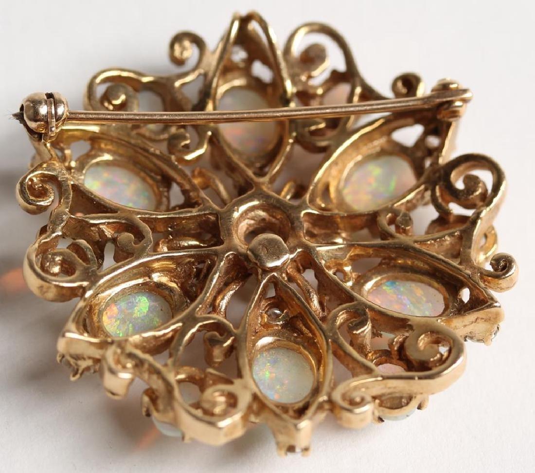 14K Opal & Diamond Pendant Brooch - 6