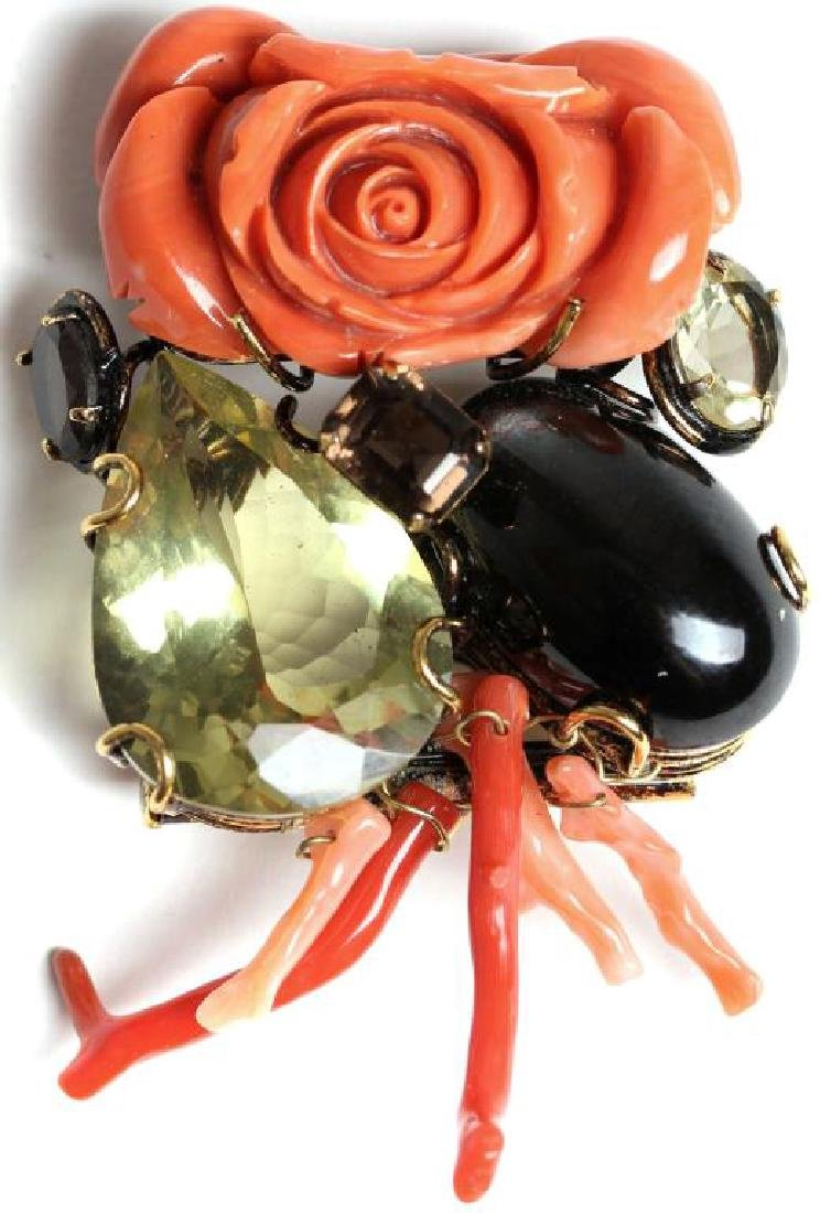 Vintage Iradj Moini Brooch with Coral & Stones